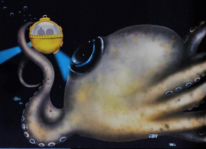 Illustrasjon fra boka Namako og tentaklene av Rita Sørly. Illustratør Susann Brox Nilsen